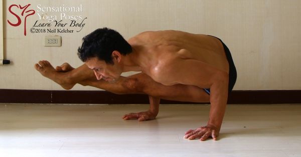 Astavakrasana yoga arm balancing pose. Neil Keleher. Sensational Yoga Poses.