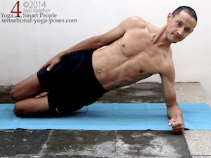 side plank on knee with shoulder active and with pelvis lifted
