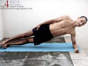 side plank (vasisthasana) with elbow on the floor, shoulder engaged hips lifted