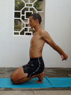 toe stretch while kneeling