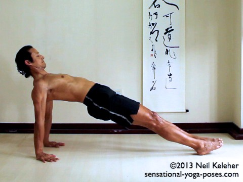 In purvottanasana, or straight bridge, start in a seated position with legs straight ahead. Hands on the floor behind you. Press heels down to lift the hips. Reach your toes forwards. Squeeze shoulder blades towards each other (retract) and make your spine feel long. You may find it helps to externally rotate the arms. Fingers point forwards. Look forwards, or relax your neck and look back (not shown.) Neil Keleher. Sensational Yoga Poses.