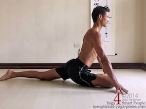 Pigeon pose with the torso upright. Neil Keleher. Sensational Yoga Poses.