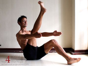 Yoga poses for abs, boat pose variation with one foot on floor and one leg lifted, neil keleher, sensational yoga poses.