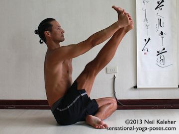Modified compass pose or Compass pose preparation is a seated hamstring stretch. From a cross legged position grab one foot with both hands, lift the floor and straighten the knee. Keep the neck long and chest lifted. Relax the shoulders to make it easier to straighten the knee. Neil Keleher. Sensational Yoga Poses.