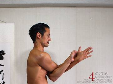 eagle pose arms, with forearms forwards, eagle pose.