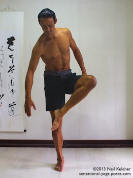 balancing on one foot