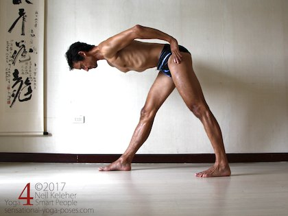 Lenghtening the spine forwards in pyramid pose or front triangle. Neil Keleher. Sensational Yoga Poses.