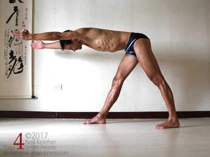 Reaching the arms and spine forwards in pyramid pose or front triangle. Neil Keleher. Sensational Yoga Poses.