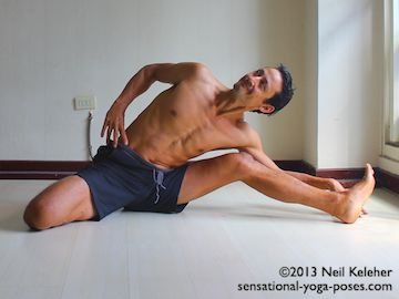 If your flexibility is limited in half hero seated side bend, then bend the knee of the straight leg. Keep the heel on the floor. To make bending to the side easier, place your hand on the floor to the outside of the non-hero position leg. Neil Keleher. Sensational Yoga Poses.