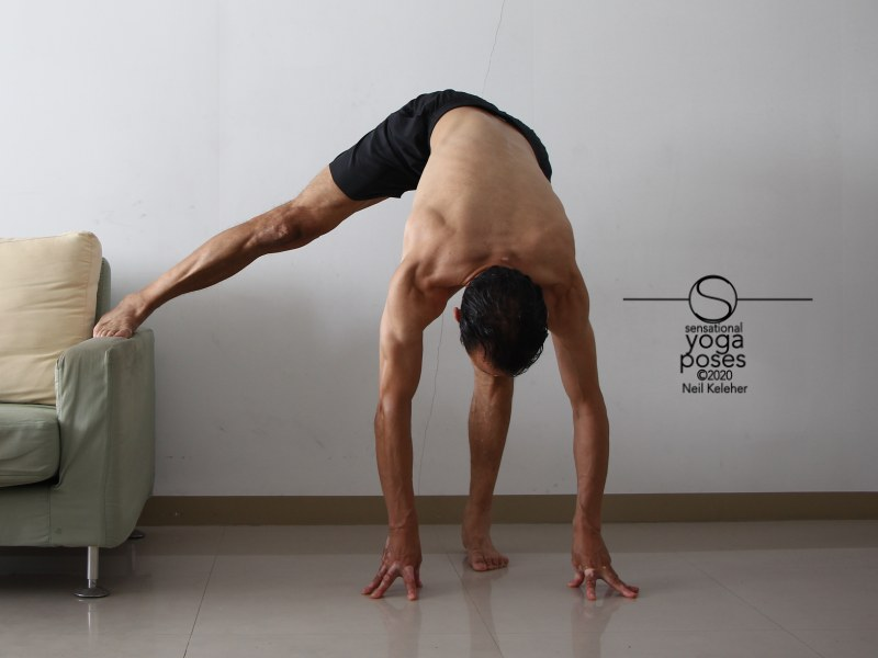 Standing forward bend with one leg supported and bending towards weight bearing leg. Neil Keleher, Sensational Yoga Poses.
