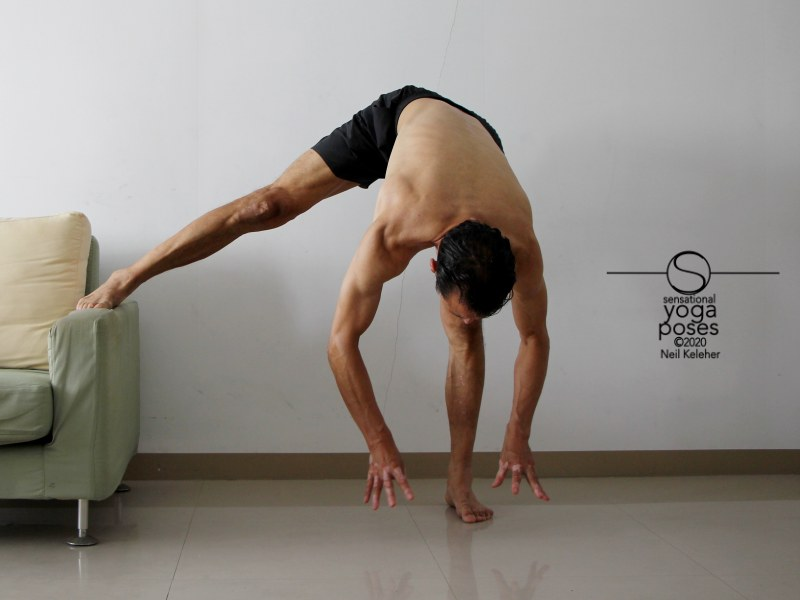 Bending towards standing leg with other leg supported and then lifting hands off of the floor. Neil Keleher, Sensational Yoga Poses.