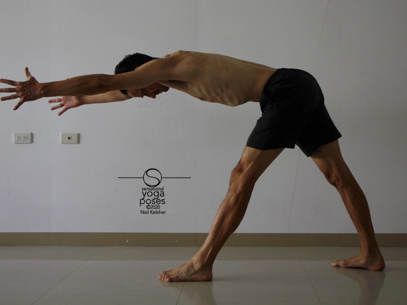 Pyramid pose with hands reaching forwards and hamstrings activated. Neil Keleher, Sensational Yoga Poses.