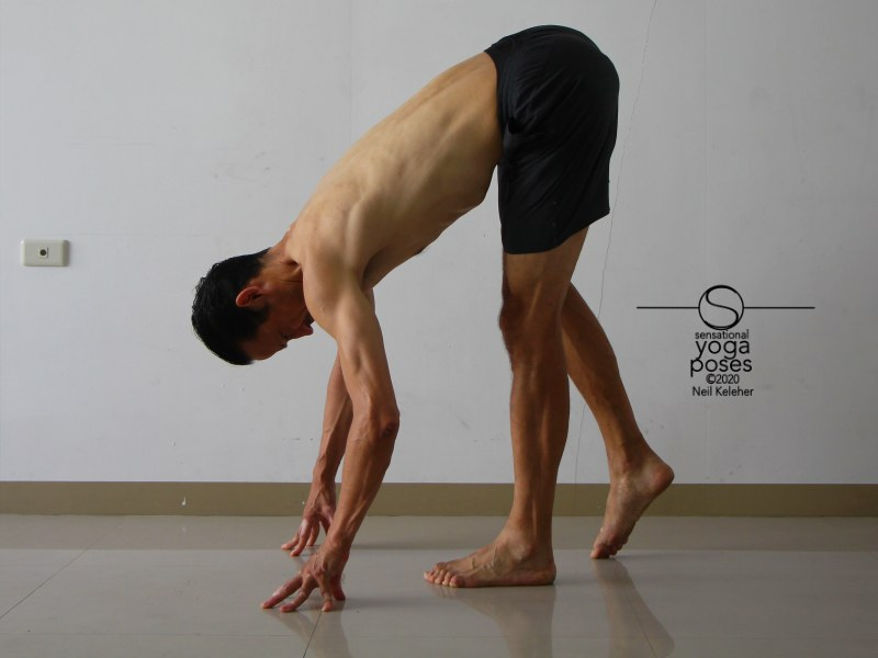Standing forward bend focusing on one leg. Neil Keleher, Sensational Yoga Poses.