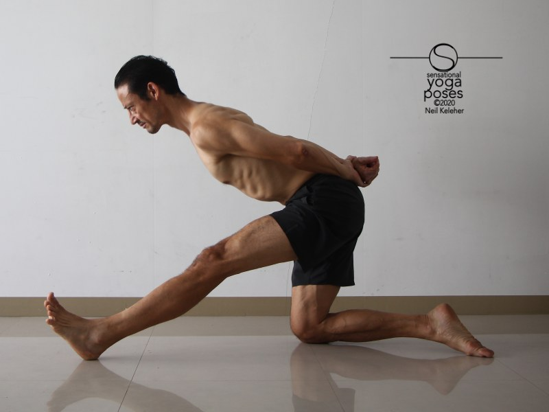 Kneeling on one knee with hips over knee and bending towards straight leg to stretch the hamstrings. Neil Keleher, Sensational Yoga Poses.