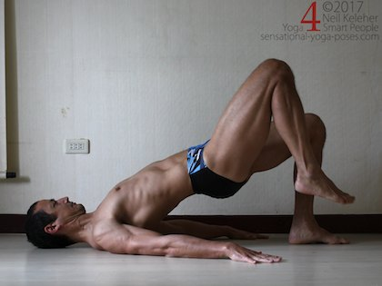 Leg strengthening exercises for the glutes: pushing one foot into the floor and lifting the other foot while in bridge pose.  Neil Keleher. Sensational Yoga Poses.