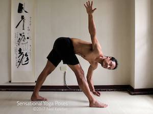 Yoga poses for abs, triangle twist with bottom hand lifted using abs to twist ribcage, neil keleher, sensational yoga poses.