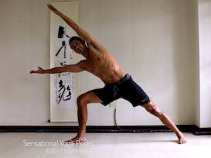 Yoga poses for abs, side angle pose with both hands reaching past the head to exerise the abs, neil keleher, sensational yoga poses.