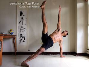Yoga poses for abs, side plank pose with top leg lifted and knees straight, neil keleher, sensational yoga poses.