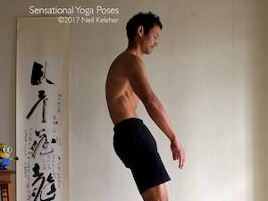 Yoga poses for abs, bending lumbar spine forwards with abs engaged, neil keleher, sensational yoga poses.