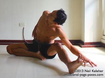 If you are flexibility impaired, then one option for janu sirsasana side bend is to bend the knee of the leg you are bending towards. If you find that you tend to tip backwards you can also place the hand on the floor to the outside of the upward pointing knee. Neil Keleher. Sensational Yoga Poses.