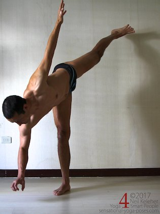 Using half moon as a hip strengthening exercise, shifting weight to the foot, activating knee and hip and then lifting the hand. Neil Keleher. Sensational Yoga Poses.