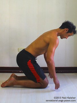 gradual quad stretch while kneeling, ankle stretch, hero pose variation, hero pose for beginners