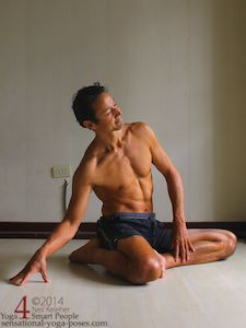 Seated spinal side bend. Neil Keleher. Sensational Yoga Poses.