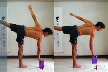 If you are using a yoga block as a prop for half moon pose, I'd suggest holding it in the hand as you reach the hand towards the floor. Gradually reduce the height of the block as you get more comfortable with this exercise to the point that you no longer need the block. Another option, if you have trouble touching the floor, is to bend the standing knee.