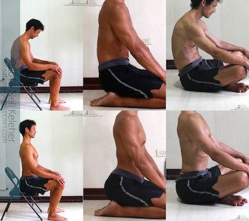 Sitting in a Chair (top to bottom): spine relaxed, then spine bent backwards. Kneeling: spine relaxed then bent backwards. Cross Legged: Spine relaxed then bent backwards.