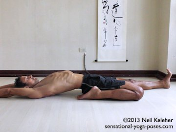 reclining half hero yoga pose, reclining hero quad stretch, arms reaching back, supine yoga poses.