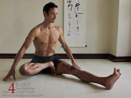 janu sirsasana C, in this picture torso is upright with spine long. Foot is against the inner thigh with heel uppermost and toes tucked towards the knee. Neil Keleher. Sensational Yoga Poses.