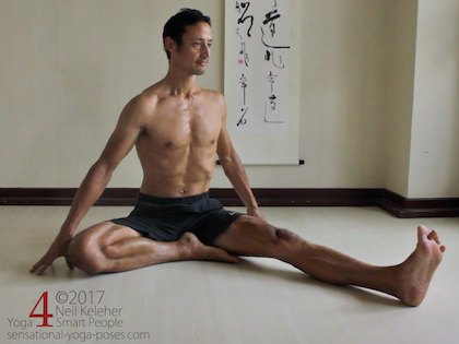Janu sirsasana A, positioning the foot prior to bending forwards. Neil Keleher. Sensational Yoga Poses.