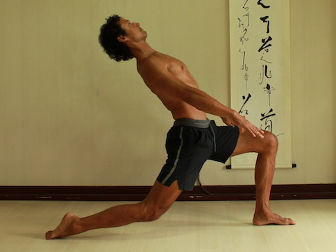psoas stretch, erector spinae engage, spine bent back, pelvis tilting backwards