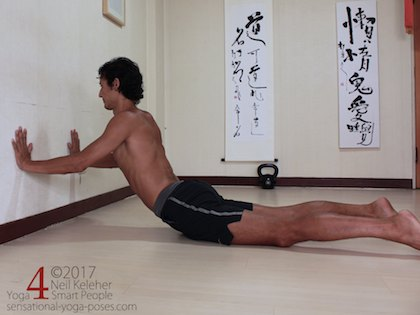 up dog wall variation psoas stretch