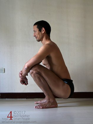Deep squat, a forward bend for both hips with the knees bent. Neil Keleher. Sensational Yoga Poses.