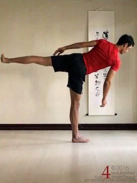 balancing in half moon pose