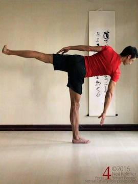 side balancing pose, a variaition of half moon pose with hand not on the floor