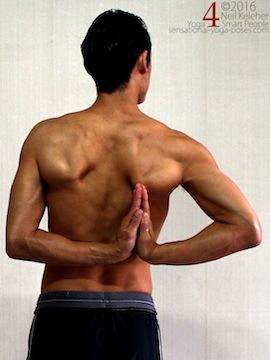 reverse prayer with hands to the side, prayer behind the back with hands to one side. yoga shoulder stretches