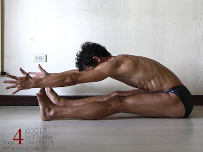 Seated forward bend for the hips with knees straight and arms reaching forwards. Neil Keleher. Sensational Yoga Poses.