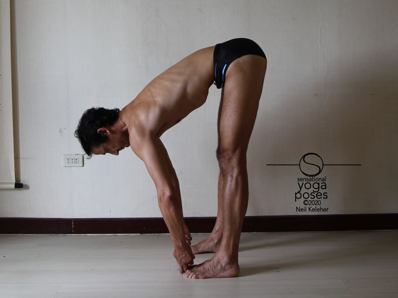 Standing forward bend grabbing big toes with spine long and transverse abdominis engaged. Neil Keleher, Sensational Yoga Poses.