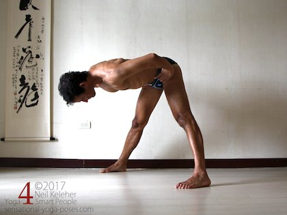 Wide leg standing forward bend, bending forwards at the hips with hands on the waist.  Neil Keleher. Sensational Yoga Poses.