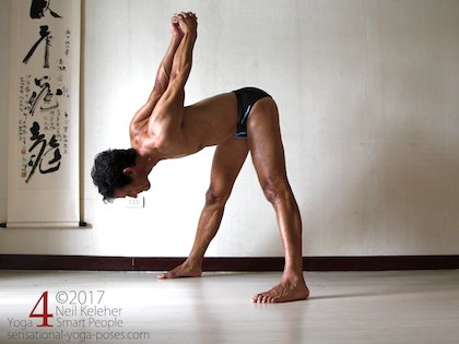 Wide leg standing forward bend, bending forwards at the hips with hands clasped behind the back.  Neil Keleher. Sensational Yoga Poses.