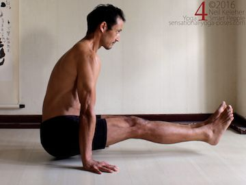 Yoga poses for abs, L-sit, lifting up with legs straight and hips and legs lifted, neil keleher, sensational yoga poses.