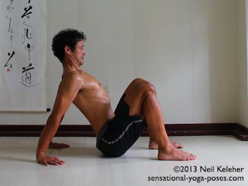 Scapular Stabilization, retracting the shoulders in easy table top to press the chest forwards and upwards. Neil Keleher. Sensational Yoga Poses.