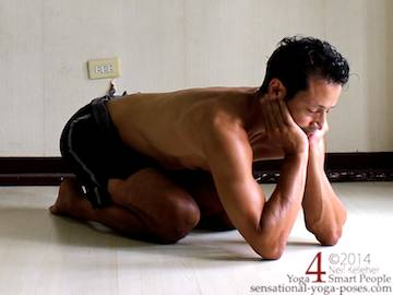 hastashirasan, kneeling while bent forwards with chin supported on the hands with elbows bent and on the floor. Neil Keleher. Sensational yoga poses.