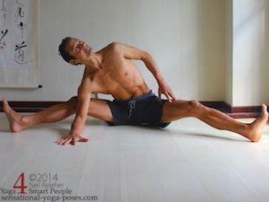 If you are less flexible, then when doing a seated side bend with both legs spread, you can bend both knees keeping the heels on the floor. Neil Keleher. Sensational Yoga Poses.