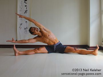 One option for a seated side bend is to sit with legs wide, knees straight and bend to one side. In this case both arms are reaching past the head adding weight to the stretch. Neil Keleher. Sensational Yoga Poses.
